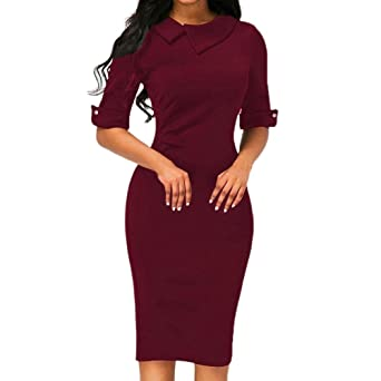 b5b1f20fa0646 Business Dress, Women Retro Bodycon Below Knee Formal Office Dress  Turn-Down Collar Pencil Dress with Back Zipper (S, Wine Red): Amazon.co.uk:  Watches