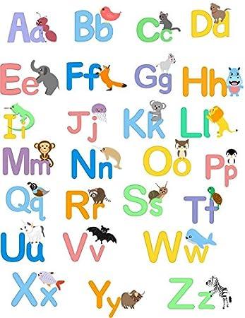 Cartoon Jungle Animal Alphabet Wall Sticker (Aa Zz) Kidu0027s Room Wall Alphabet  Decal Part 86