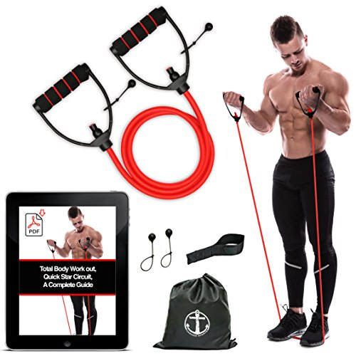Anchor Workout Toning Heavy Fitness Tube Resistance Bands Cord for Exercise Fitness Pilates Strength Training Yoga…