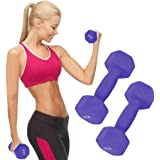 6/8/10/12/15 lb A Pair Dumbbell Barbell Neoprene Coated Weights 6/8/10/12/15 Pound Purple