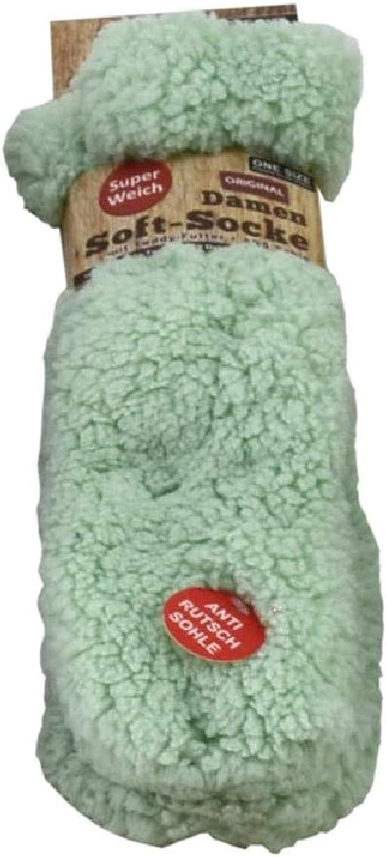 4225MG Wintersocke Unbekannt mintgr/ün Damen Soft-Socke Kuschelsocke mit Teddy-Futter ABS-Sohle H/üttensocke super weiche Bettsocke