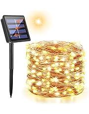 Maxsure Solar Fairy Lights Outdoor, 72ft / 22m 200 LED Solar String Lights, miedziane lampki z drutu na Boże Narodzenie, Halloween, patio, podwórko, wesele, dekoracje imprezowe, wodoodporność IP65 (ciepła biel)