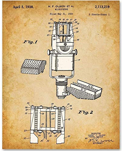 Microphone - 11x14 Unframed Patent Print - Great Gift for Musicians, DJs or -