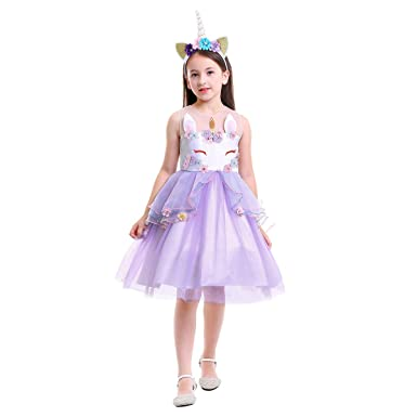47a51d1104e Amazon.com  Baby Girls Flower Unicorn Fairy Costume Princess Dress up  Birthday Pageant Party Wedding Bridesmaid Dance Outfits Short Gown  Clothing
