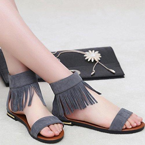 DEESEE(TM) Summer Sandals Women Flat Fashion Sandals Comfortable Ladies Shoes Gray gpxi4AwX