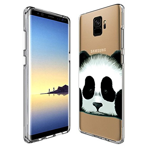 Cute Panda Samsung Galaxy S9 plus Clear Case,Ultra-thin Transparent Soft Protection Cover,Personal Customization Hybrid Drop Flexible Shockproof Case (Di2 Drop)