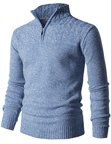 Zip with Twisted Knitted Long Sleeve Pullover Sweater Sky US XL/Asia 2XL (CMOSWL027) ()