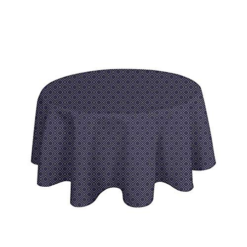 Curioly Navy Blue Printed Tablecloth Geometric Dotted Pattern Design with Abstract Ogee Shapes Grid Ornament Tile Desktop Protection pad D35 Inch Dark Blue Tan