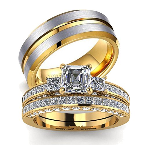 LOVERSRING His and Hers Couples Rings Women 10K Yellow Gold Filled Cz Bridal Sets Men Tungsten Carbide Wedding Band Wedding Ring (Gold Couples Ring)