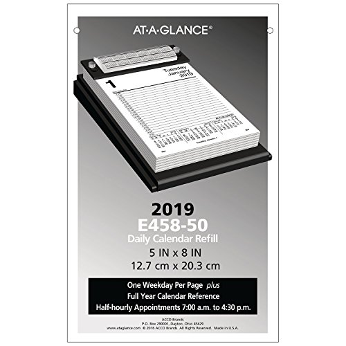 AT-A-GLANCE 2019 Daily Desk Calendar Refill, 5