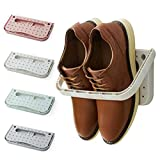 Laugh Cat 4 Pack Hanging Plastic Shoe Rack Wall Mount Creative Folding Organizer Shoe Shelf Adhesive Storage Shoe Holder, Multi-color