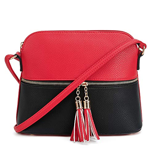 - SG SUGU Lightweight Medium Dome Crossbody Bag with Tassel | Zipper Pocket | Adjustable Strap (Red/Black)