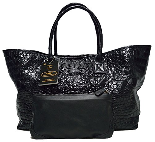 (Authentic M Crocodile Skin Womens Bag Tote Hobo Large W/Wallet Handbag (Black))