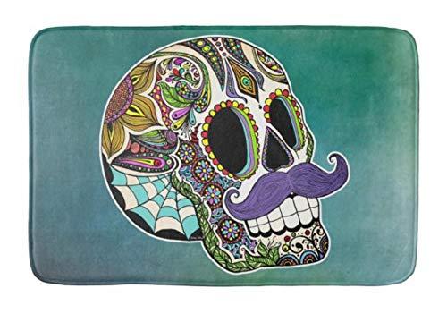Yesstd Mustache Sugar Skull Absorbent Super Cozy Bathroom Rug Doormat Welcome Mat Indoor/Outdoor Bath Floor Rug Decor Art Print with Non Slip Backing 24