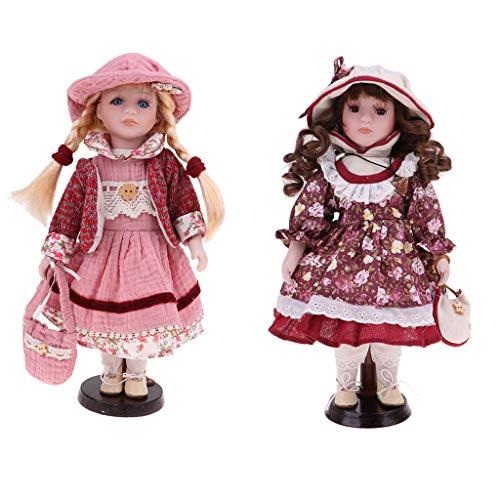 Fenteer 2pcs 30cm Porcelain Doll Vintage Girl People Figure with Golden & Brown Hair Desktop Decor