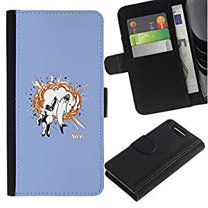 Ihec-Tech / Flip PU Cuero Cover Case para Sony Xperia Z1 Compact D5503 - Funny Awesome Shark High Five