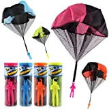 xdobo 4PCS Set Tangle Free Throwing Parachute Figures Toys,Hand Throw Soliders Parachute,Square Outdoor Children's Flying Toys,Throw to Sky| No Strings No Batteries Toss It(four colors)