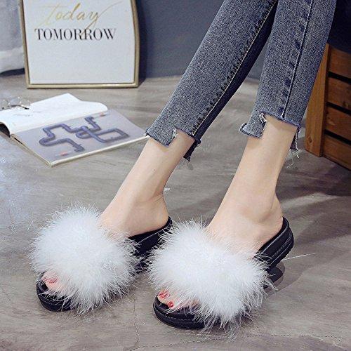 Faux By Flip Femmes Non À Flop Les Blanc pantoufles Chausson Mode Fourrure Moelleuses Peluches Lhwy Sandales Femme slip Plates La Chaussons 6TwnHqxBC