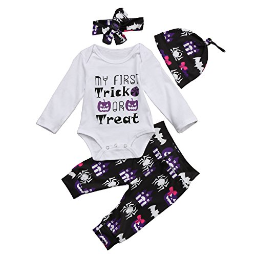 Yuemengxuan 4Pcs My First Halloween Newborn Baby Boy Girl Long Sleeve Romper Pant Leggings Headband Hat Clothes Outfits (White2, 18-24 Months) -