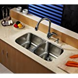 "Kraus KBU22-KPF2120-SD20 32"" Undermount Double Bowl Stainless Steel Kitchen Sink with Kitchen Faucet and Soap Dispenser"
