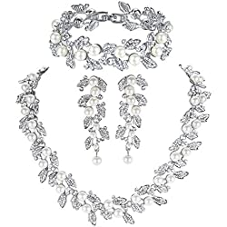 mecresh Pearl Leaf Wedding Bridal Crystal Jewelry Sets Women Bridesmaids(1 Set Earrings,1 PCS Necklace&Bracelet)