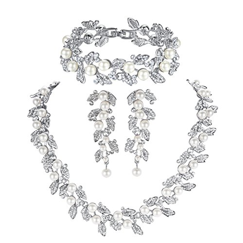 (Bridal Teardrop Jewelry Sets, Crystal Wedding Necklace Earrings Bracelet Sets Jewelry Engagement)