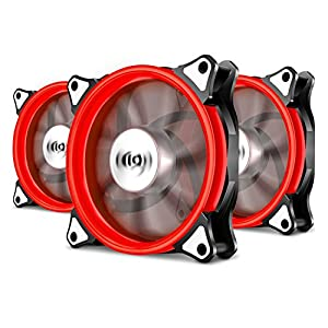 Pack of 3 Aigo Halo LED Ring Fan 120mm 12cm Sleeve Bearing 120mm LED Silent Fan for Computer Cases, CPU Coolers, and Radiators (3 Pack Red)