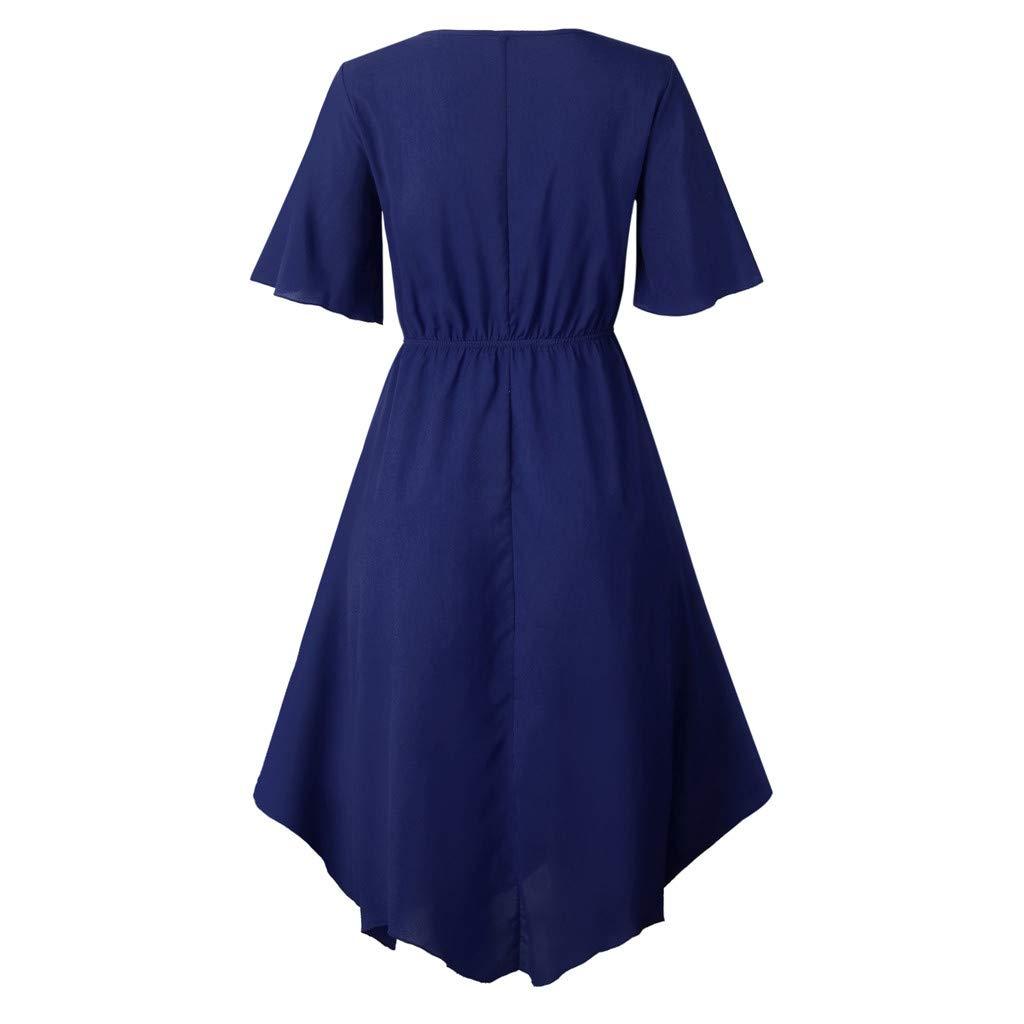 Dasuy Women Casual Short Sleeve Evening Party Dress Ladies O Neck Knee Length Dresses