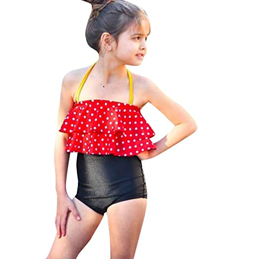 de95a306c00 Kingspinner Baby Girls Two Piece Bikini Set Sling Dot Print Tops + High  Waist Bikini Bottoms