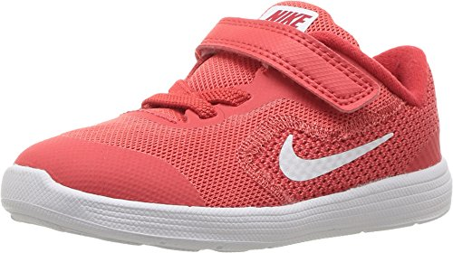 Nike Kids' Revolution 3 (TDV) Running Shoe, Track White/University red, 5 M US Toddler (The Best Track Running Shoes)