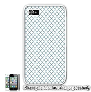 Sky Blue Mini Quatrefoil Pattern Apple iPhone 4 4S Case Cover Skin White