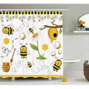 Ambesonne Collage Decor Shower Curtain Flying Bees Daisy Honey Chamomile Flowers Pollen Spring Themed Animal
