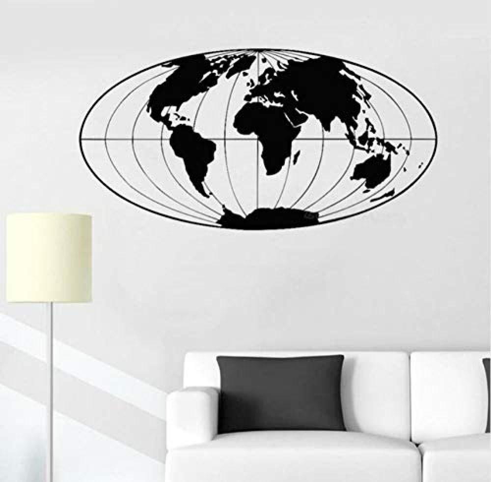 Etiqueta de la pared Vinilo Tatuajes de pared Mapa del mundo Bola ...