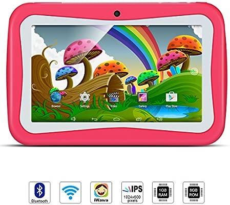 Tablet para Niños, QIMAOO, Tablet Infantil de 7 Pulgadas iWawa Software Pre-Instalado, Android 5.1, Lollipop Quad Core Tablet Externa 3G,8GB ROM, 1GB ...