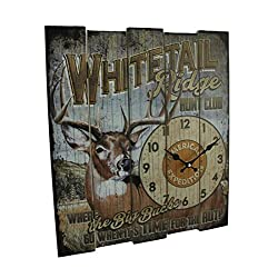 American Expedition Whitetail Ridge Hunt Club Wooden Clock, Large, Multicolor