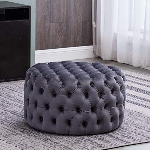 BALIAA Round Ottoman with Grey Soft Velvet Fabric Classic Button Tufted Design Upscale Glamour and Luxe Looks