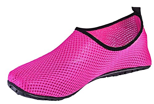 Louechy Finet Mens Och Womens Barfota Vatten Skor Snabbtorkande Aqua Strumpor För Simning Surf Yoga Rosa