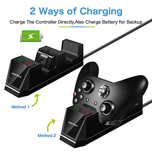 ONETEKS Xbox One Controller Charger with 2X 1200mAh Rechargeable Battery Packs Dual Xbox Controller Charging Station for Xbox One/One S/One X/One Elite(Black)