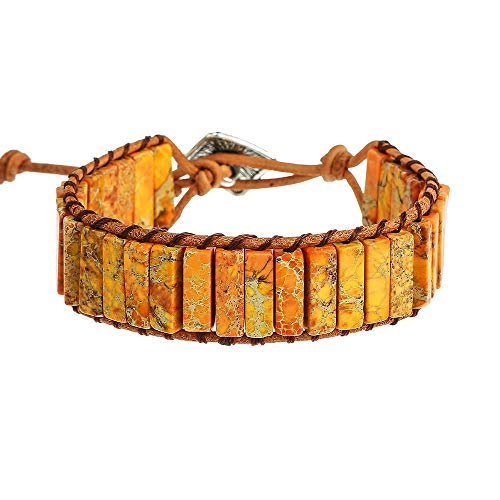 - IUNIQUEEN Leather Chakra Handmade Imperial Jasper Wrap Adjustable Bead Bracelet (Orange)