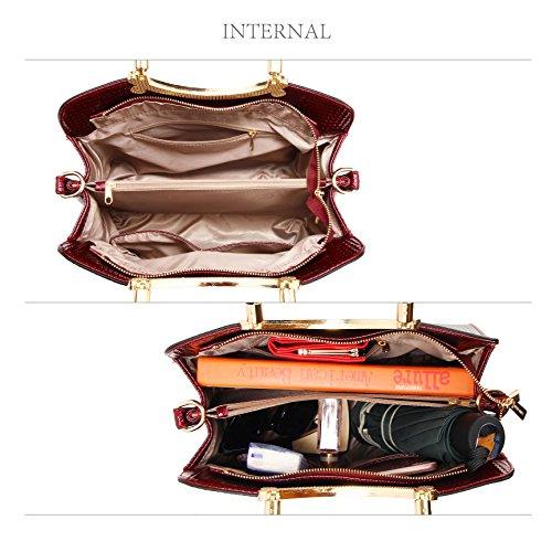 Ladies Womens Bag Womens Burgundy Shoulder Leather New Tote Handbag Tote w5ITf1qT