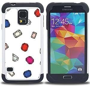 - gemstones gem diamond ruby white - - Doble capa caja de la armadura Defender FOR Samsung Galaxy S5 I9600 G9009 G9008V RetroCandy