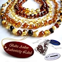 Baltic Amber Teething Necklaces & Bracelets For Babies -- Agba® Certified Authentic W/ Traceable Serial Number -- Famous For Relieving Teething Pain, Drooling, Insomnia -- Highest Quality + Genuine Certification + 24 Hours Ship (Choose from 7 Amber Colours)