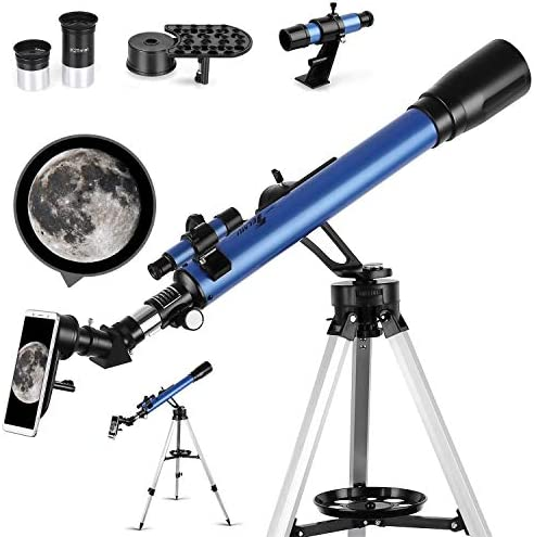 TELMU Telescope, 60mm Aperture Astronomical Refractor Telescope for Kid and Beginner Adults- Portable Travel Telescope with Tripod, Phone Adapter and Finders Scope