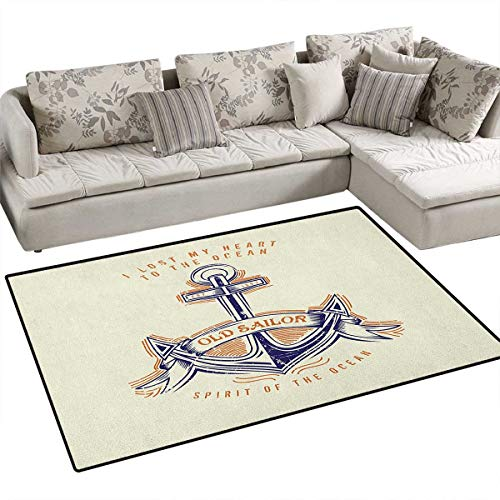 Anchor,Rug,Old Sailor Spirit Sign Firmly Anchored to The Ocean Image in Vintage Style,Area Carpet,Orange Blue Yellow Size:40