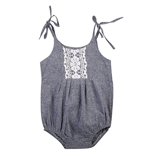 Newborn Baby Girls Gray Strap Summer Romper Jumpsuit Sunsuit (0-6 Months, A)