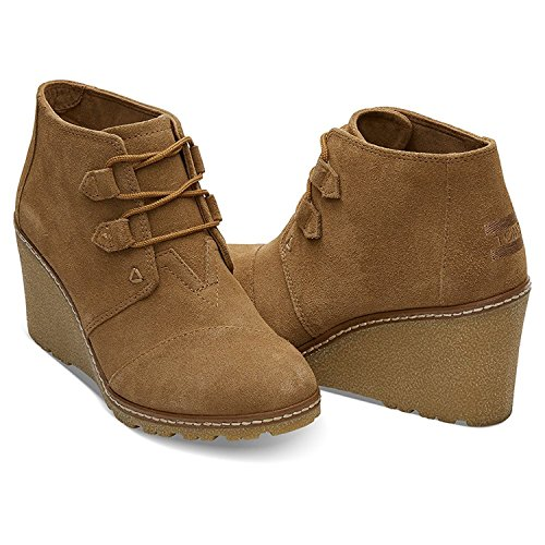 TOMS Women's Desert Wedge Crepe Taupe Suede Shoes 7