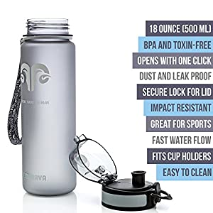 Best Sports Water Bottle - 18oz Small - Eco Friendly & BPA-Free Plastic - Fast Water Flow, Flip Top Lid, Opens With 1-Click (Gray)