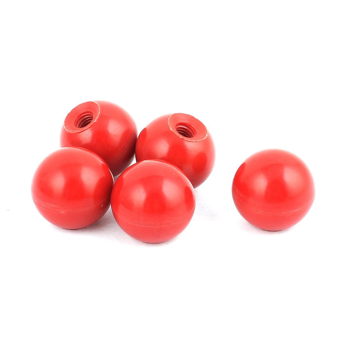 sourcingmap® Red Plastic Diameter M5 Round 20mm Ball Solid Lever Knobs 5pcs for Lathe Machine a16032500ux0847