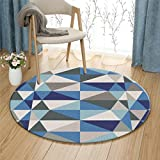 Peacock Blue Nordic Triangle Carpet Round Bedroom Rug Soft Comfortable Wearable Easy Clean ( Size : 100 cm diameter )