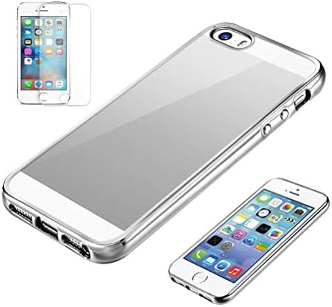 For iPhone 5/5s/SE, Mchoice Slim Shock-Absorption Clear TPU Plating Bumper Case Cover for iPhone 5/5s/SE